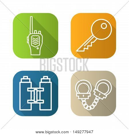 Police flat linear long shadow icons set. Radio transceiver, key, binoculars and handcuffs. Vector line symbols