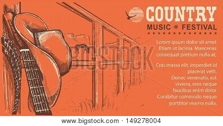 Western Country Music Illustration With Cowboy Hat And Music Guitar