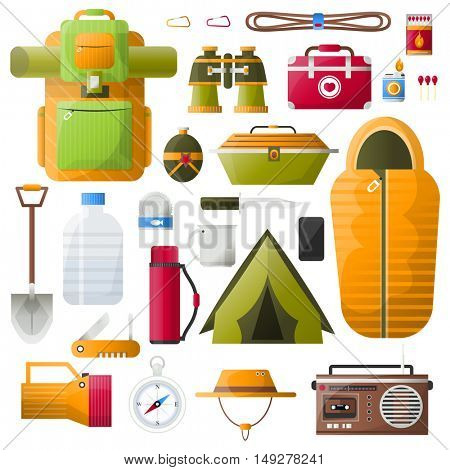 Kit items for survival, exploration tourism and camping. Icons: emergency box and water, sleeping bag and radio, tent and backpack. Vector illustrations on white background