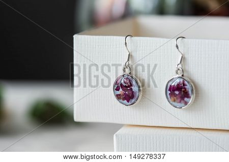 Epoxy Resin Earrings With Rose Petals Close-up