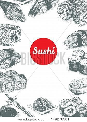 Illustration of various sort of sushi. Monochrome illustration of sushi