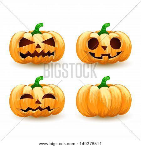 Cartoon pumpkin head set spooky halloween jack o lanterns.