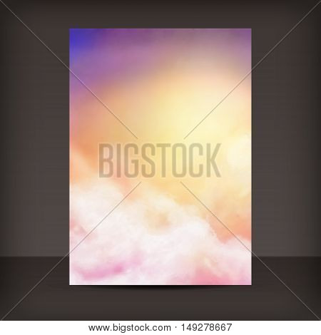 Flyer or Cover Design. Sunny sky vector watercolor painting background