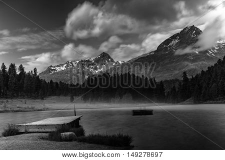 Alpine Landscape With Mountain Lake In Black And White Fine-art