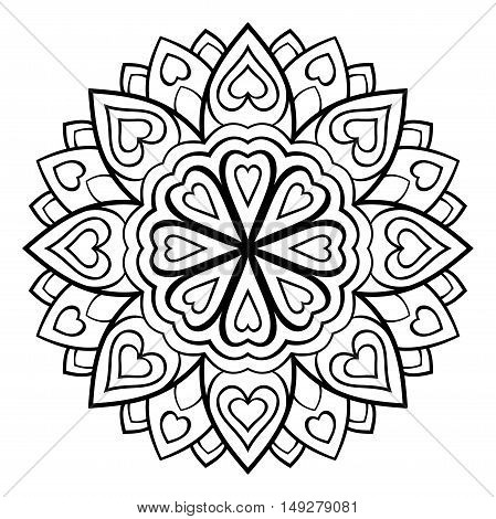 Vector simple mandala on a white background. Oriental ornament. Element for design. Sketch for tattoo. Template for coloring book.