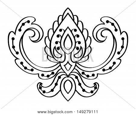 Vector abstract pattern on a white background. Element for design. Sketch for tattoo. Template for carpet textile coloring book.