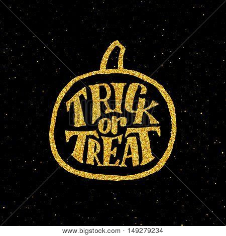 Festive poster for Happy Halloween party with hand lettering text and golden pumpkin on black background. Decoration design element with typography. Trick or Treat holiday tradition.