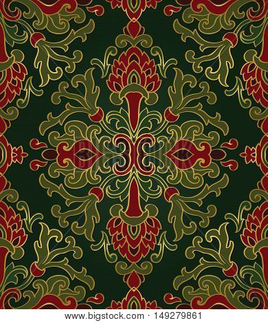 Medieval floral ornament. Template for oriental carpet textile shawl wallpaper. Seamless vector pattern of gold contour on a green background.