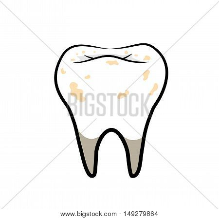 Dirty Tooth. A hand drawn vector illustration of a tooth with bad hygiene.