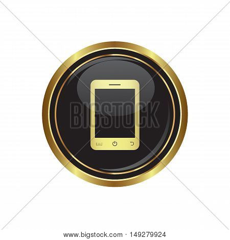 Mobile phone (smartphone) icon on the button. Vector
