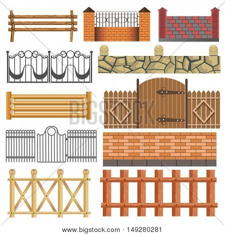 Set of different fence design: wooden, metal, stone barriers. Vector fences and gates illustration isolated on white background. Outdoor architecture elements