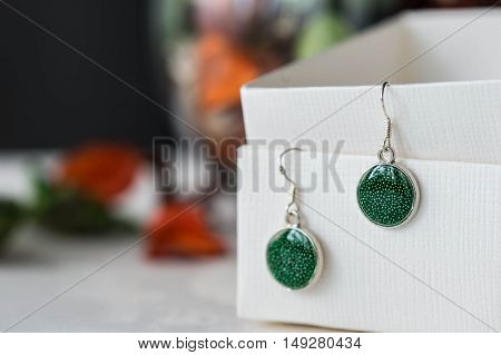 Handmade Earrings Made Of Epoxy Resin Closeup