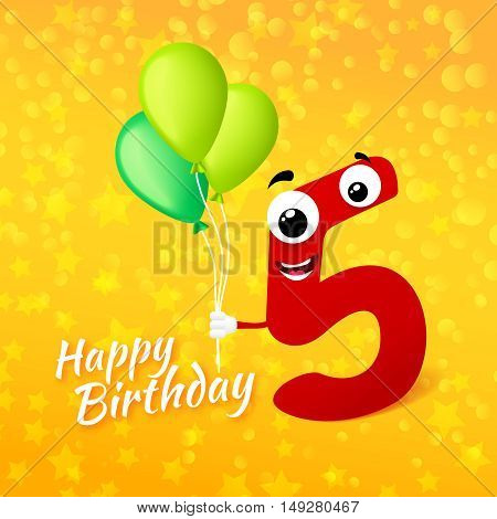Fifth birthday festive greeting card. Cartoon illustration for 5 years anniversary with number five character and text Happy Birthday. Vector illustration