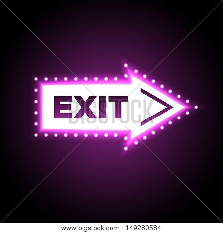 Illuminated arrow shaped 3D exit sign. Escape neon symbol isolated on black background for casino decoration. Vector illustration