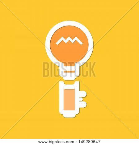 Flat logo lamp and key. Lamp and key icon Sign