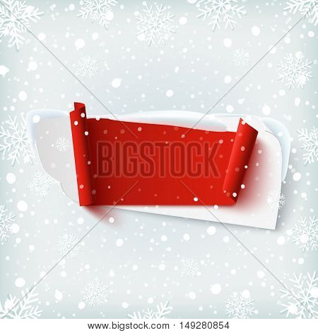 Blank, abstract banner on winter background with snow and snowflakes. Template for greeting card or brochure. Vector illustration.