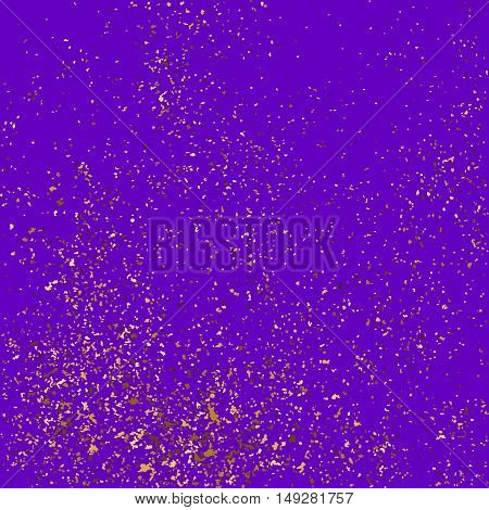 Gold Glitter Texture Isolated On Purple Background.