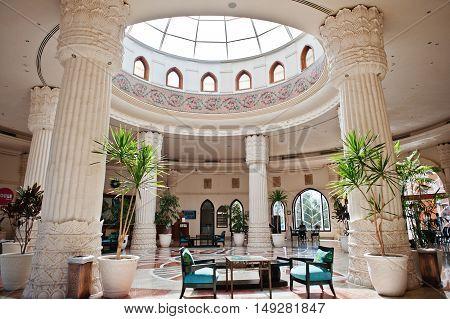 Hurghada, Egypt -20 August 2016: Reception Lobby Area In Luxury Hotel  Resort Caribbean World Soma B