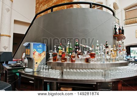 Hurghada, Egypt -20 August 2016: Reception Lobby Bar With Various Alcohol Drink In Luxury Hotel  Res