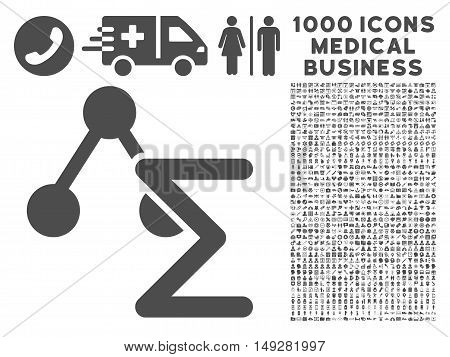 Gray Chemical Formula icon with 1000 medical business vector pictographs. Design style is flat symbols, gray color, white background.
