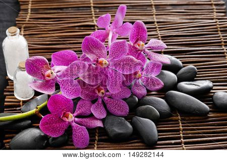Branch orchid with pile of stones on mat
