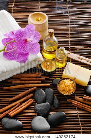 Spa tropical setting with bamboo mat