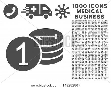 Gray Coins icon with 1000 medical business vector pictograms. Design style is flat symbols, gray color, white background.