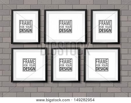 Frames Wall Gallery Mock Up Grey Bricks Vector Dark Black