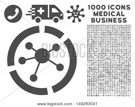 Gray Connections Diagram icon with 1000 medical business vector pictographs. Set style is flat symbols, gray color, white background.