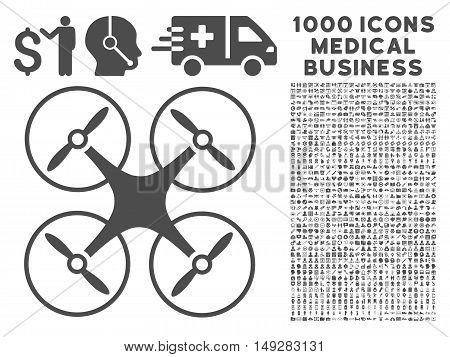 Gray Copter icon with 1000 medical business vector pictographs. Design style is flat symbols, gray color, white background.