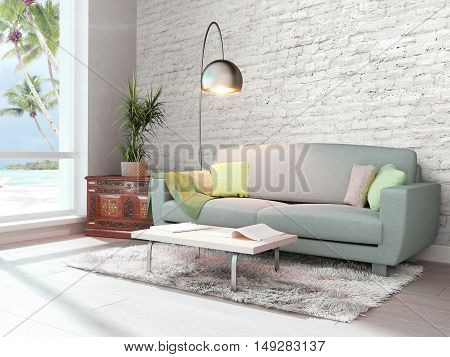 Bright interior with sofa in a modern style . 3D rendering