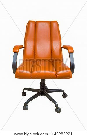 The office chair from brown leather with casters isolated on white background.