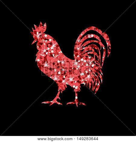 Red glitter rooster on black background. Chinese calendar for the year of red rooster 2017. Rooster red silhouette on white background with white numbers 2017.