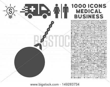 Gray Destruction Hammer icon with 1000 medical business vector pictograms. Design style is flat symbols, gray color, white background.