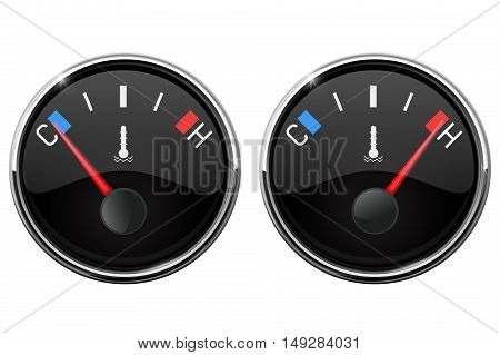 Auto temperature gauge. Hot and Cold indication. Vector ilustration isolated on white background