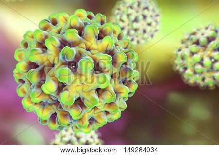 Hepatitis B virus on colorful background, 3d illustration. A model is built using data of viral macromolecular structure furnished by Protein Data Bank PDB 4G93