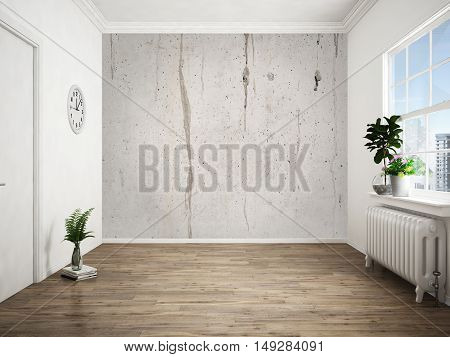 Empty bright interior in a modern style . 3D rendering
