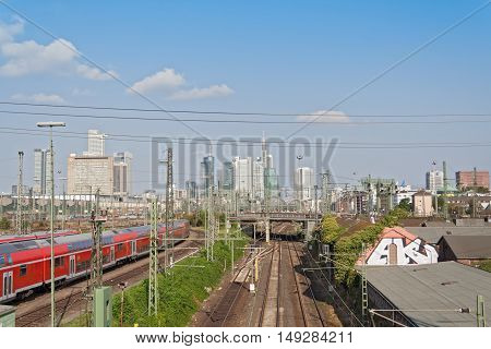 FRANKFURT, GERMANY-SEPTEMBER 27, 2016: railroad tracks in front of the central station Frankfurt Germany