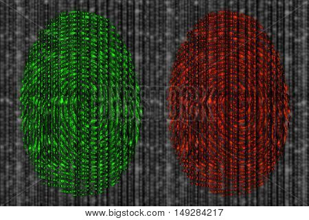 Red and green fingerprint revealing digital datastreams on a blurry grey background from zero and 1