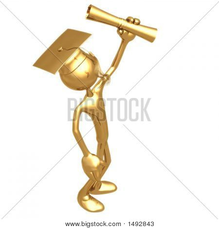 Grad ouro segurando o Diploma graduação conceito