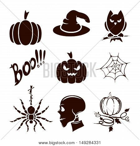 Halloween theme, set of scary holiday icons, isolated on white background, illustration.