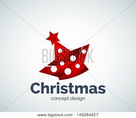 Christmas or New Year star decoration logo template, abstract business icon