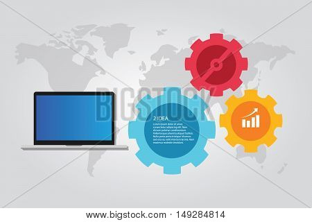 information technology computer laptop infographic map world gear working vector