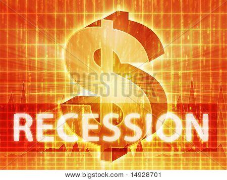 Recession Finance illustration, dollar symbol over financial design