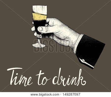 Woman hand hold a glass of of alcohol drink on black background.Vector vintage illustration