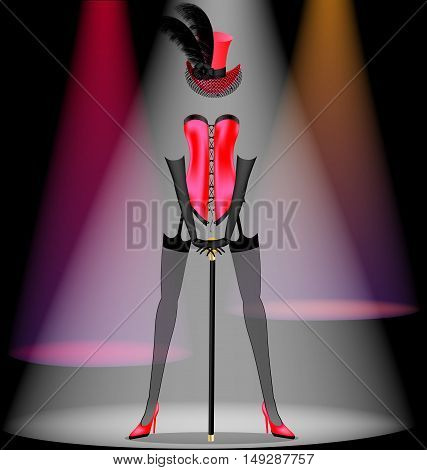 abstract dark scene of cabaret and dancing red ladys dress
