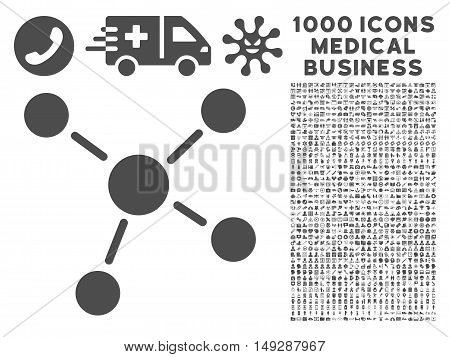 Gray Links icon with 1000 medical business vector pictograms. Set style is flat symbols, gray color, white background.