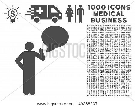Gray Man Idea Balloon icon with 1000 medical business vector pictographs. Set style is flat symbols, gray color, white background.