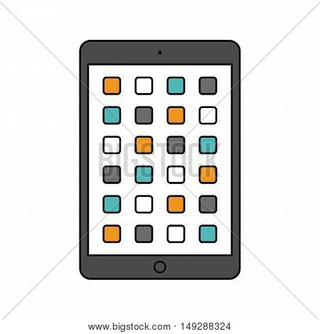 tablet icon in the style thin line flat design isolated on white background. stock vector illustration eps10