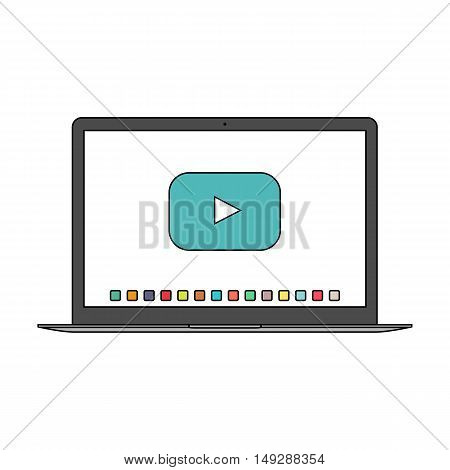 laptop icon in the style thin line flat design isolated on white background. stock vector illustration eps10